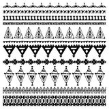 Set of brushes with native zigzag ornaments. Hand drawn ethnic aztec border. Black contour on White background. Vector stock illustration