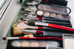 Set of brushes and shadows for professional makeup Royalty Free Stock Photo