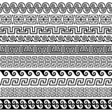 Set of brushes to create the Greek Meander patterns. And samples of their application for round  frames and borders Stock Image