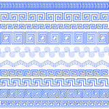 Set of brushes to create Greek Meander patterns Stock Image