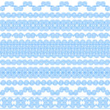 Set of brushes to create the Greek Meander patterns. Greek traditional borders. Decoration spiral elements in blue color isolated on white background. Could be Stock Photo