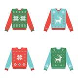 Set brzydcy boże narodzenie pulowery z zima wzorem Zdjęcie Stock