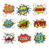 Set of bubble or bubbles speech. Crash and smash bubble and wham speech, onomatopoeia comic dialogue for bomb bang. For comic book humour speech expression Royalty Free Stock Photography