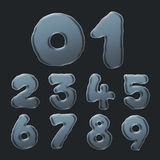 Set of Bubble Numbers 0-9. On a Black Background Stock Image