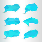 Set bubble shape Geometric polylines blue Royalty Free Stock Images