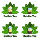 Set of bubble tea badges Vector flat labels stock illustration