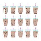 Set of bubble tea emotions. Stock Image