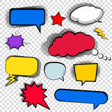Set of bubbles, cloud talk, different shapes in comic style. Stock Image