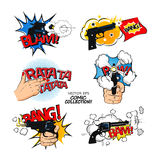 Set of bubbles speech, comic expression and speak onomatopoeia, bam and bang cloud, pow sound. Stock Images