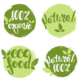 Set of bubbles, stickers, labels, tags with text. 100% natural, 100% organic, eco food. Royalty Free Stock Images