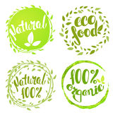 Set of bubbles, stickers, labels, tags with text. 100% natural p. Roduct, 100% organic, healthy food. Organic food badges in vector (cosmetic, food Royalty Free Stock Images