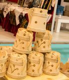 Set of buckets made of wood. In a market place stock image