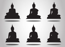 Set of Buddha Silhouettes Royalty Free Stock Photo