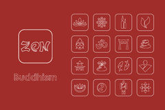 Set of buddhism simple icons Stock Photos