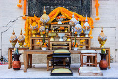 Set of Buddhist altar table is the focal point from which one ushers in fulfillment, happiness and wealth into their homes Royalty Free Stock Photography