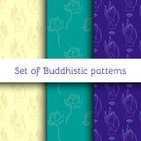 Set of Buddhistic patterns stock illustration
