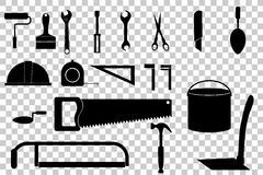 Set budowy narzędzia kolekcja przy przejrzystym skutka tłem, royalty ilustracja