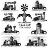 Set budynki gospodarstwo rolne, świron, wieża ciśnień, wiatrowy młyn w retro stylowej rocznik etykietce ilustracji