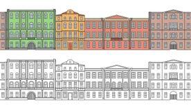 Set budynki w starym miasteczku Piękni domy w stylu klasycyzmu ulica Ð ¡ olor bezszwowy wzoru royalty ilustracja