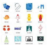 Set of buffering, number players, next steps, cell tower, inquiry, fire hydrant, book now, specification, vocabulary icons. Set Of 16 simple editable icons such Royalty Free Stock Photos