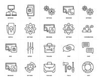 Set of  Bug, Help, Tools, Settings, Chat, Toolbox, Switch, Network, Settings icons. Set Of 20 icons such as Help, Tools, Toolbox, Settings, Browser, Bug, web UI Stock Images