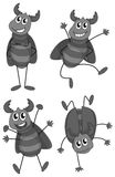 Set of bugs doing different actions Royalty Free Stock Photos