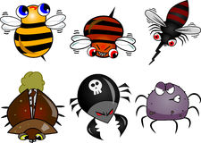 Set of Bugs. Set include 6 different bugs: bees, mosquito, beetles, spider Stock Photography