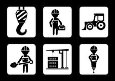 Set of builder and construction equipment icons Stock Image
