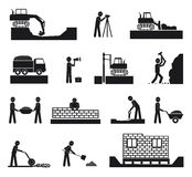 Set of builder construction industry icons Stock Photos