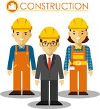 Set of builder man and woman in flat style Royalty Free Stock Images