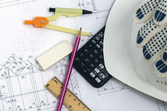 Set of builders. Accessories civil engineer on the project background Stock Photography