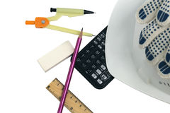 Set of builders. Accessories civil engineer on the project background Stock Photo