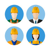Set of builders avatars. Construction workers. Circle flat style icons. Vector illustration Stock Photos