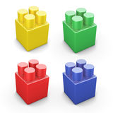 Set of building plastic parts in different colors Stock Photography