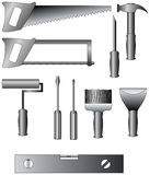 Set of building tools. Set of joiner's and building tools. The vector image Stock Photos