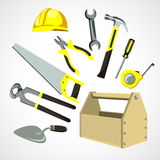 Set of building tools. Set building tools box and helmet Stock Photography