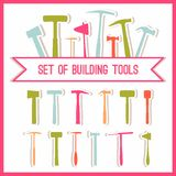 Set of building tools. Buildings tools icons set. Flat design symbols. Construction tools,  building tools . Stock Photo