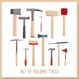 Set of building tools. Buildings tools icons set. Flat design symbols. Construction tools,  building tools . Royalty Free Stock Photography
