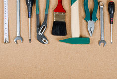 Set building tools on a corkboard Stock Images