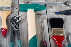 Set building tools on old boards Royalty Free Stock Images