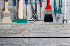 Set Building Tools On Old Boards Royalty Free Stock Photos