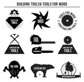 Set of building tools and tools for wood and logo badges, stickers . Stock Photos