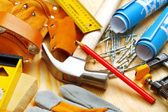 Set of building tools on wooden boards Stock Images