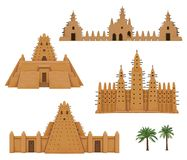 Set of buildings African architecture. House, mosque, ancient dwelling. Color drawing isolated on a white background. Vector illustration stock illustration