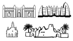 Set of buildings African architecture. House, mosque, ancient dwelling. Monochrome drawing isolated on a white background. Vector illustration stock illustration