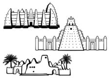 Set of buildings African architecture. House, mosque, ancient dwelling. Monochrome drawing isolated on a white background. Vector illustration royalty free illustration