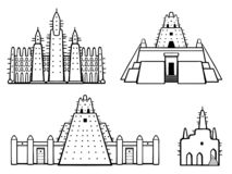 Set of buildings African architecture. House, mosque, ancient dwelling. Monochrome drawing isolated on a white background. Vector illustration vector illustration