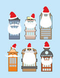 Set of buildings with beard and mustache Santa Claus. Decorating Royalty Free Stock Photography