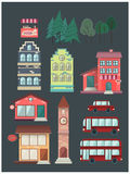 Set of buildings, car, bus, coffee, shop Stock Images