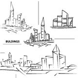 Set buildings city's. Sketch houses and building. Minimalism con Royalty Free Stock Photo